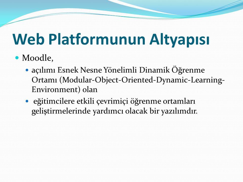 Web Platformunun Altyapısı Moodle, açılımı Esnek Nesne Yönelimli Dinamik Öğrenme Ortamı (Modular-Object-Oriented-Dynamic-Learning- Environment) olan eğitimcilere etkili çevrimiçi öğrenme ortamları geliştirmelerinde yardımcı olacak bir yazılımdır.