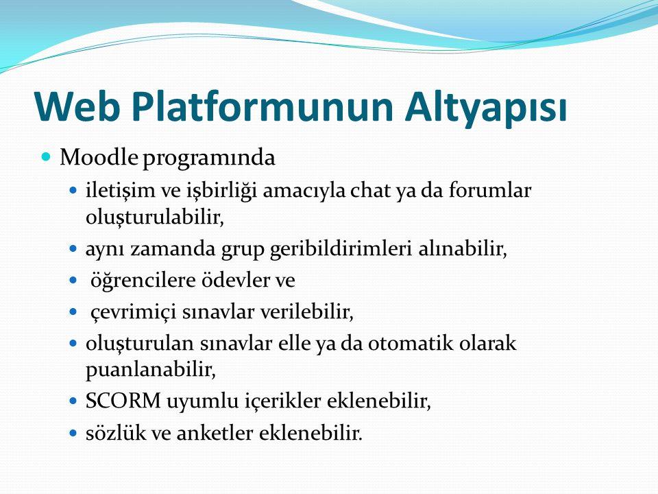 Web Platformunun Altyapısı Moodle programında iletişim ve işbirliği amacıyla chat ya da forumlar oluşturulabilir, aynı zamanda grup geribildirimleri alınabilir, öğrencilere ödevler ve çevrimiçi sınavlar verilebilir, oluşturulan sınavlar elle ya da otomatik olarak puanlanabilir, SCORM uyumlu içerikler eklenebilir, sözlük ve anketler eklenebilir.