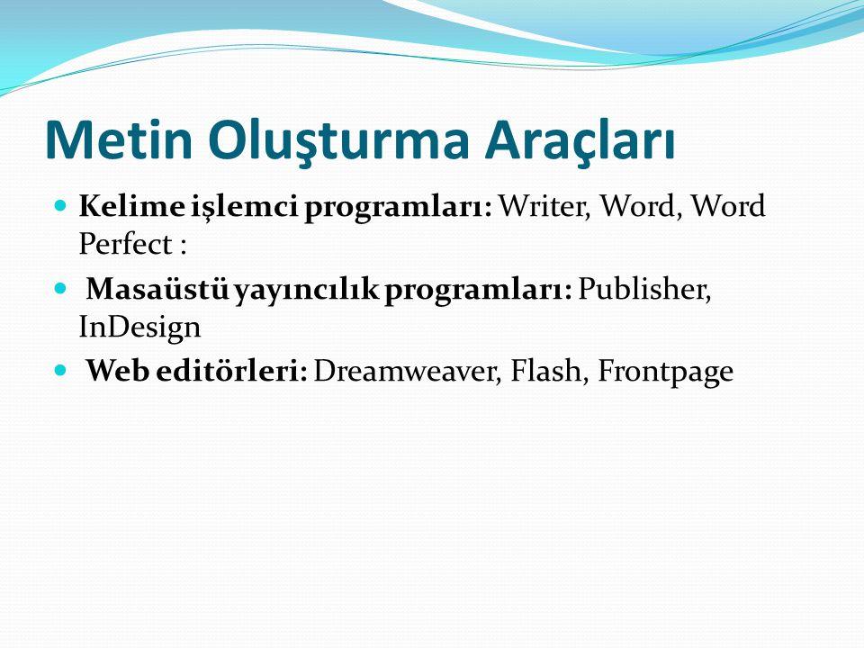 Metin Oluşturma Araçları Kelime işlemci programları: Writer, Word, Word Perfect : Masaüstü yayıncılık programları: Publisher, InDesign Web editörleri: Dreamweaver, Flash, Frontpage