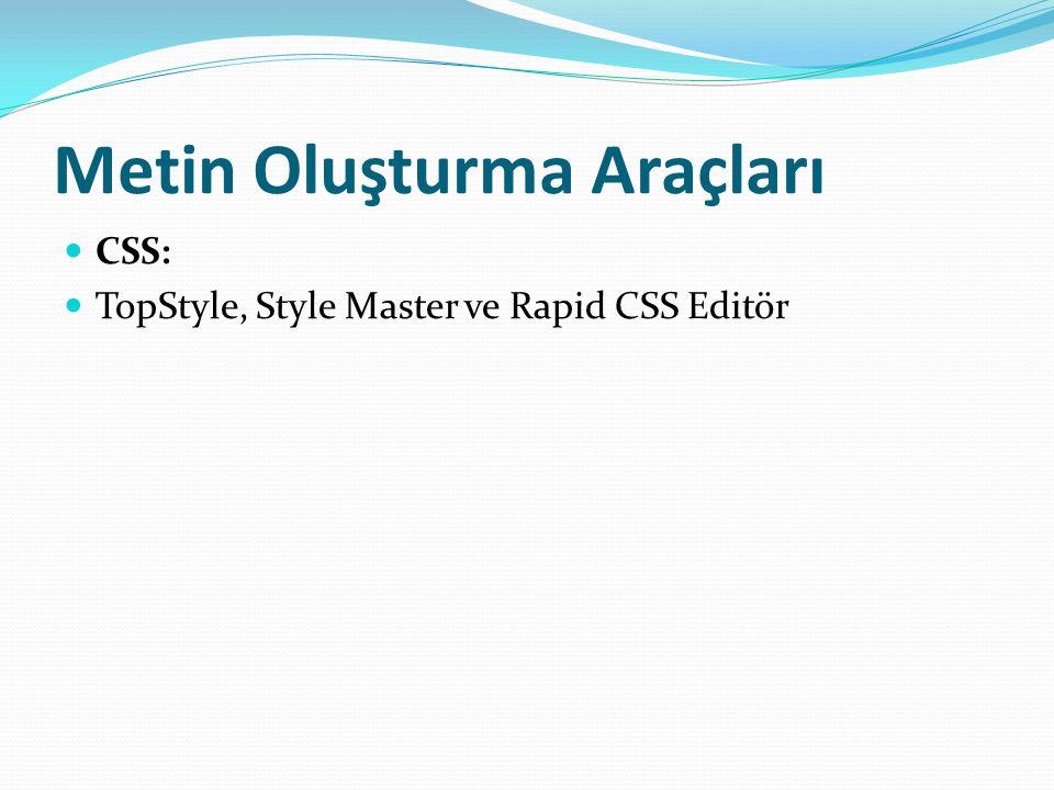 Metin Oluşturma Araçları CSS: TopStyle, Style Master ve Rapid CSS Editör