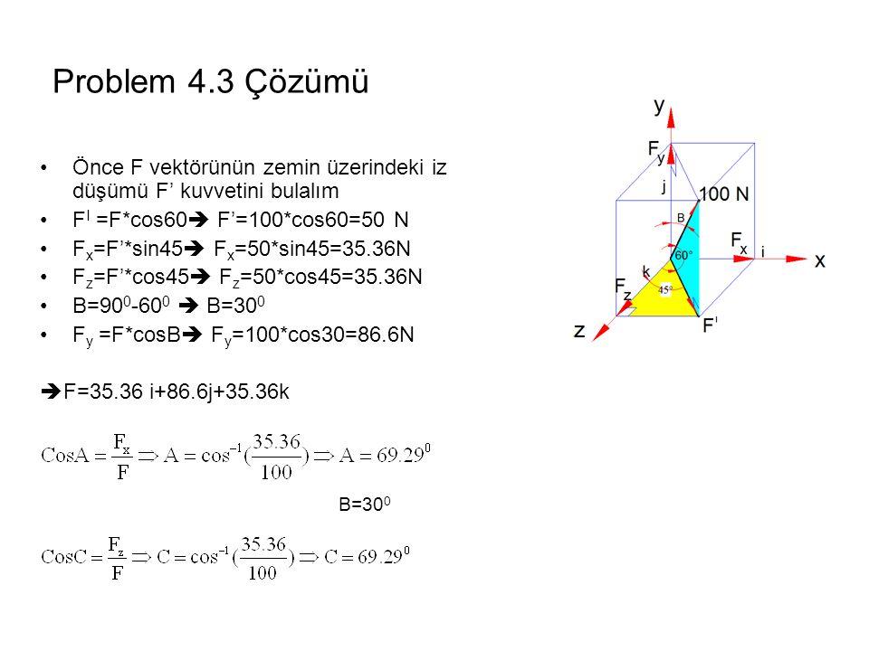 Problem 4.3 Çözümü Önce F vektörünün zemin üzerindeki iz düşümü F' kuvvetini bulalım F I =F*cos60  F'=100*cos60=50 N F x =F'*sin45  F x =50*sin45=35.36N F z =F'*cos45  F z =50*cos45=35.36N B=90 0 -60 0  B=30 0 F y =F*cosB  F y =100*cos30=86.6N  F=35.36 i+86.6j+35.36k B=30 0