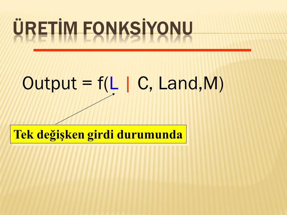 Output = f(L | C, Land,M) Tek değişken girdi durumunda