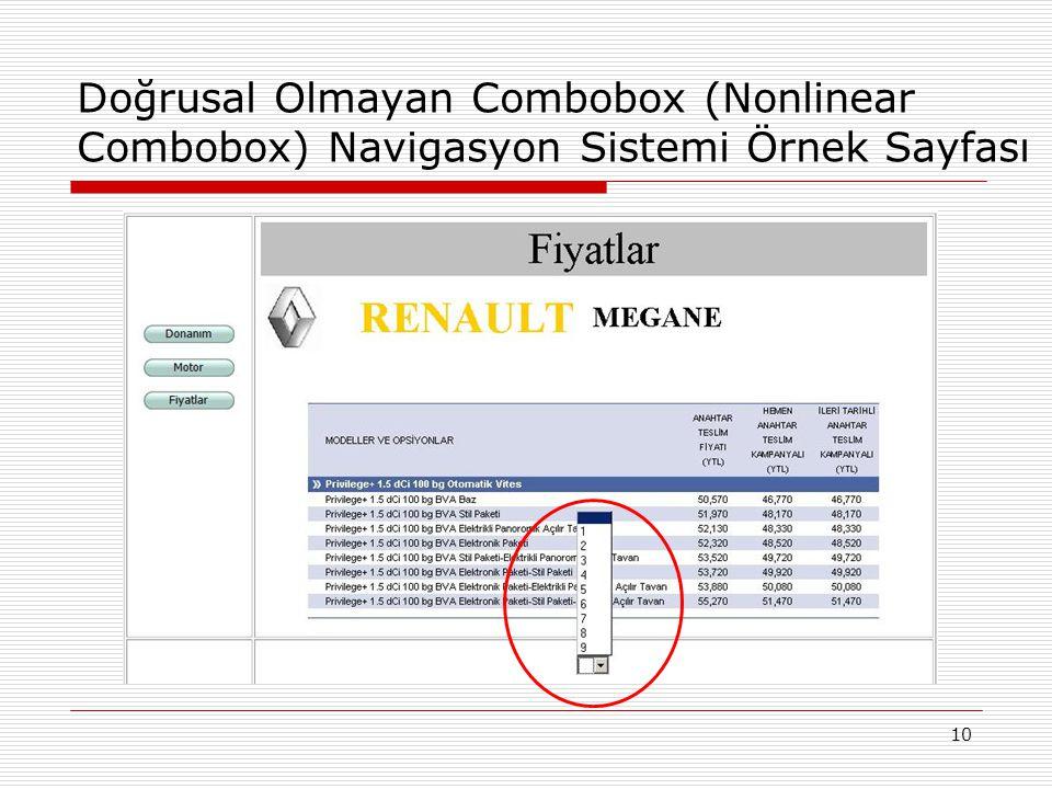 10 Doğrusal Olmayan Combobox (Nonlinear Combobox) Navigasyon Sistemi Örnek Sayfası