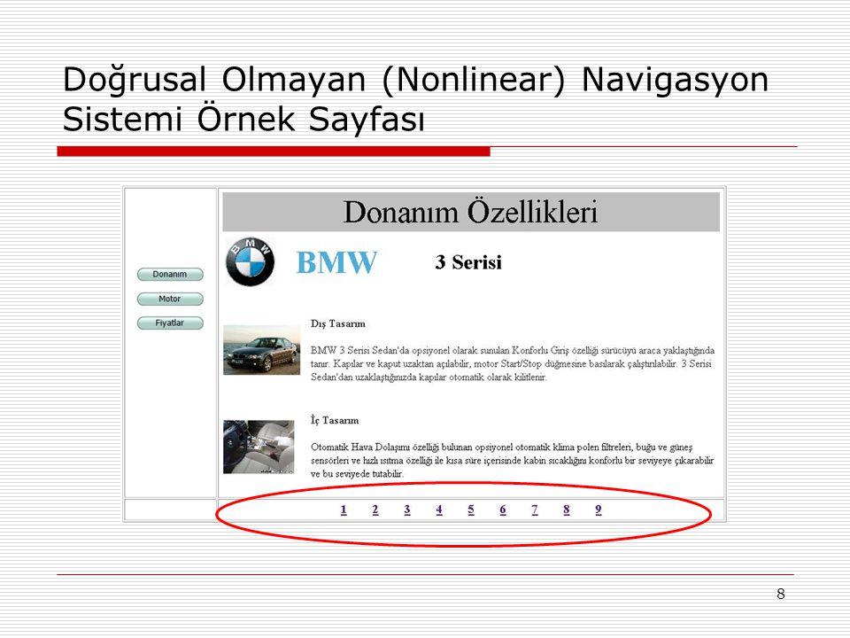 9 Doğrusal (Linear) Navigasyon Sistemi Örnek Sayfası