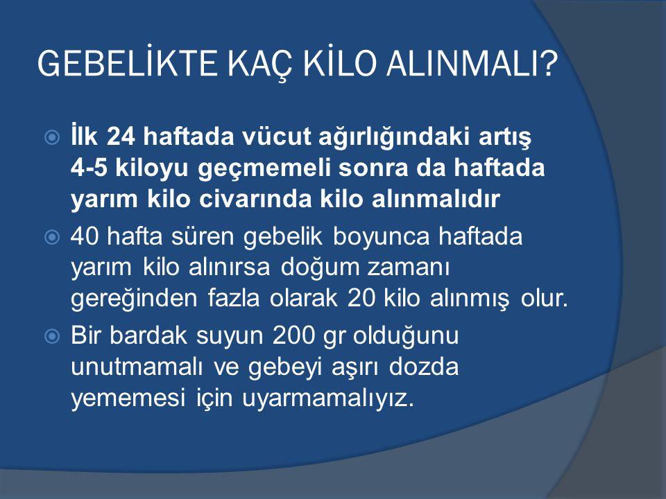 GEBELİKTE KAÇ KİLO ALINMALI.