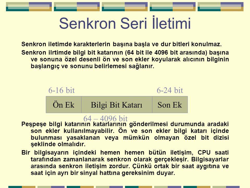 Senkron Seri İletimi Senkron iletimde karakterlerin başına başla ve dur bitleri konulmaz. Senkron ilrtimde bilgi bit katarının (64 bit ile 4096 bit ar