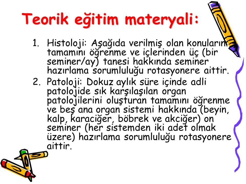 Teorik eğitim materyali: 1.Histoloji: Aşağıda verilmiş olan konuların tamamını öğrenme ve içlerinden üç (bir seminer/ay) tanesi hakkında seminer hazırlama sorumluluğu rotasyonere aittir.
