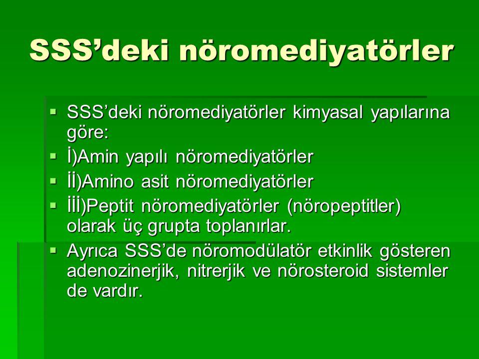 SSS'deki nöromediyatörler  SSS'deki nöromediyatörler kimyasal yapılarına göre:  İ)Amin yapılı nöromediyatörler  İİ)Amino asit nöromediyatörler  İİİ)Peptit nöromediyatörler (nöropeptitler) olarak üç grupta toplanırlar.