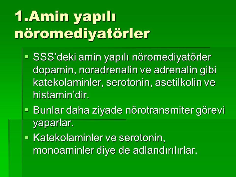1.Amin yapılı nöromediyatörler  SSS'deki amin yapılı nöromediyatörler dopamin, noradrenalin ve adrenalin gibi katekolaminler, serotonin, asetilkolin ve histamin'dir.