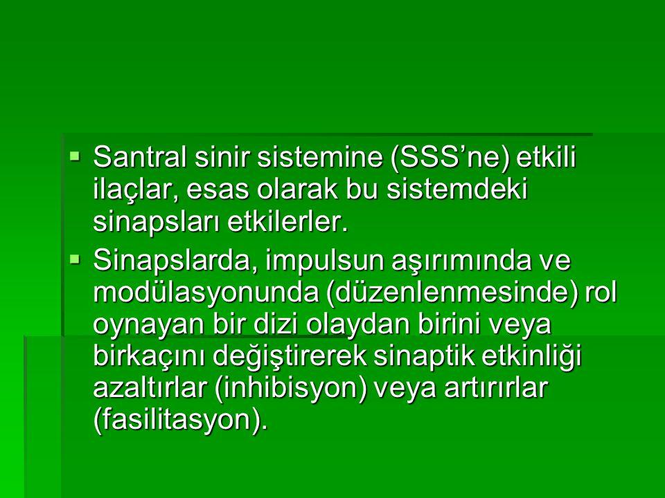  Santral sinir sistemine (SSS'ne) etkili ilaçlar, esas olarak bu sistemdeki sinapsları etkilerler.