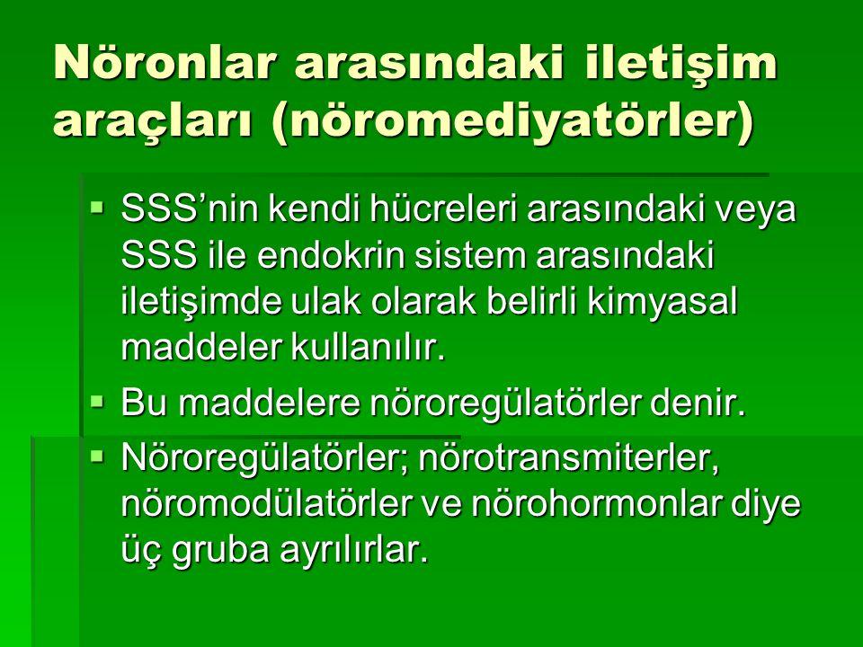 Nöronlar arasındaki iletişim araçları (nöromediyatörler)  SSS'nin kendi hücreleri arasındaki veya SSS ile endokrin sistem arasındaki iletişimde ulak olarak belirli kimyasal maddeler kullanılır.