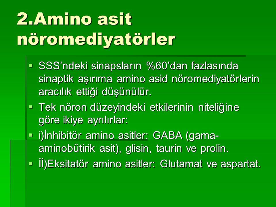 2.Amino asit nöromediyatörler  SSS'ndeki sinapsların %60'dan fazlasında sinaptik aşırıma amino asid nöromediyatörlerin aracılık ettiği düşünülür.