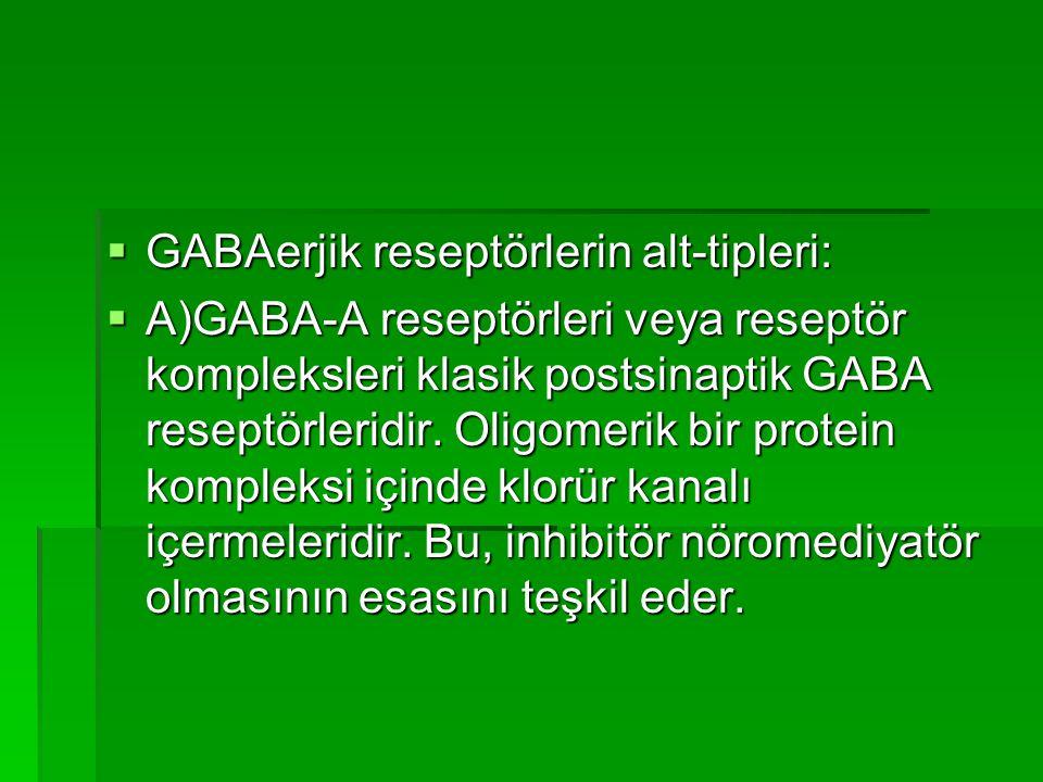  GABAerjik reseptörlerin alt-tipleri:  A)GABA-A reseptörleri veya reseptör kompleksleri klasik postsinaptik GABA reseptörleridir.