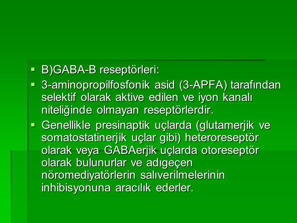  B)GABA-B reseptörleri:  3-aminopropilfosfonik asid (3-APFA) tarafından selektif olarak aktive edilen ve iyon kanalı niteliğinde olmayan reseptörlerdir.