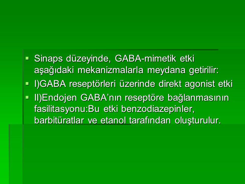  Sinaps düzeyinde, GABA-mimetik etki aşağıdaki mekanizmalarla meydana getirilir:  I)GABA reseptörleri üzerinde direkt agonist etki  II)Endojen GABA'nın reseptöre bağlanmasının fasilitasyonu:Bu etki benzodiazepinler, barbitüratlar ve etanol tarafından oluşturulur.