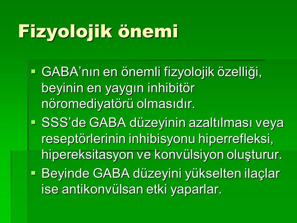 Fizyolojik önemi  GABA'nın en önemli fizyolojik özelliği, beyinin en yaygın inhibitör nöromediyatörü olmasıdır.