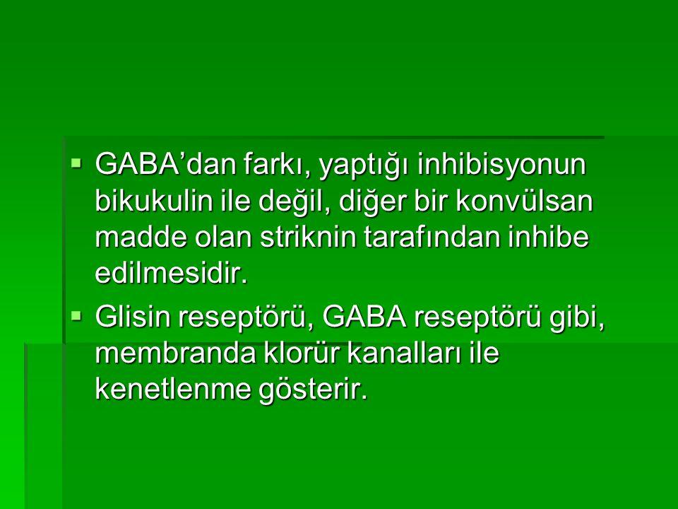  GABA'dan farkı, yaptığı inhibisyonun bikukulin ile değil, diğer bir konvülsan madde olan striknin tarafından inhibe edilmesidir.