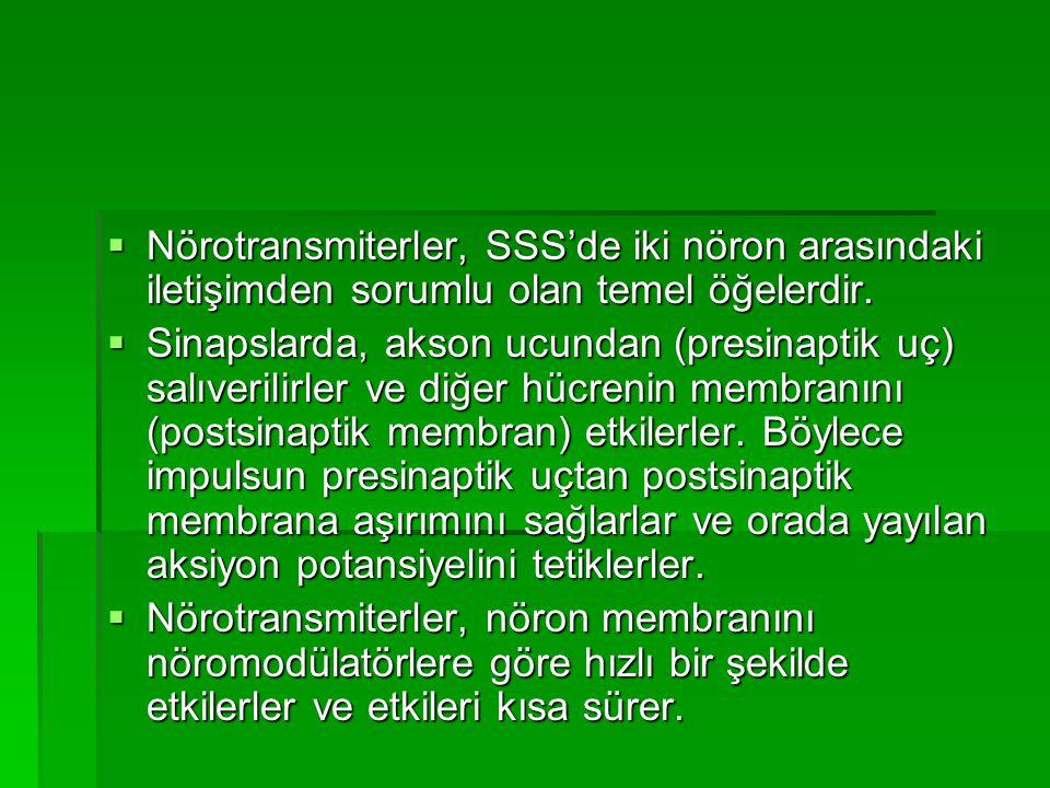  Nörotransmiterler, SSS'de iki nöron arasındaki iletişimden sorumlu olan temel öğelerdir.