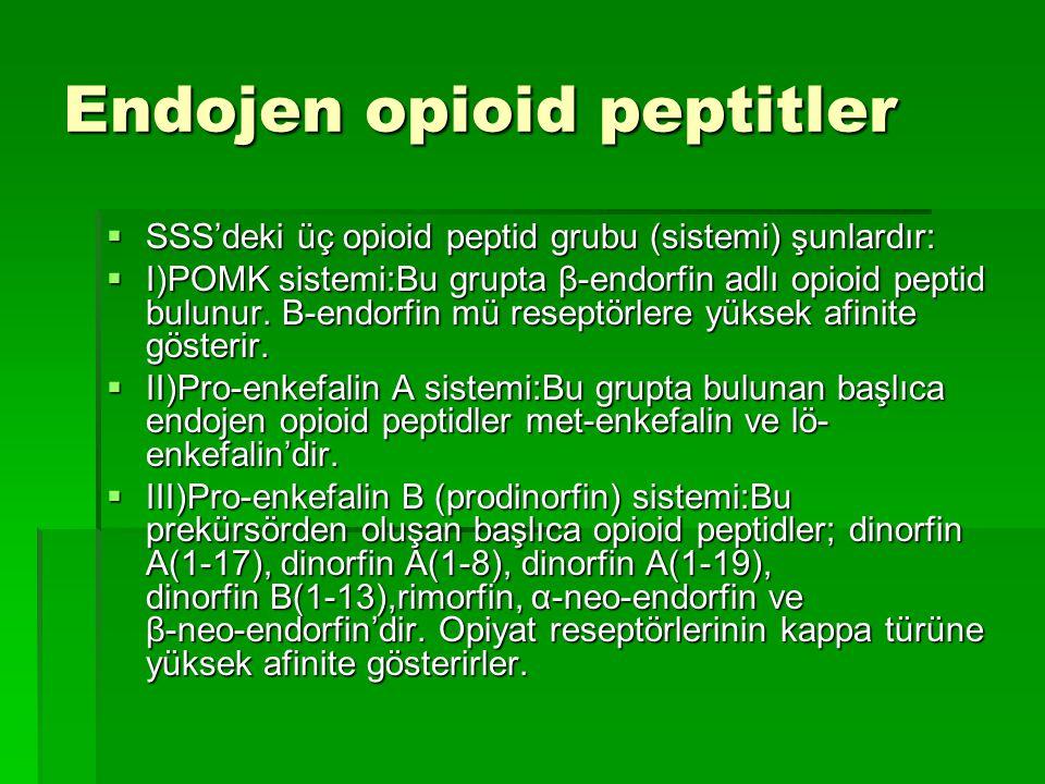 Endojen opioid peptitler  SSS'deki üç opioid peptid grubu (sistemi) şunlardır:  I)POMK sistemi:Bu grupta β-endorfin adlı opioid peptid bulunur.