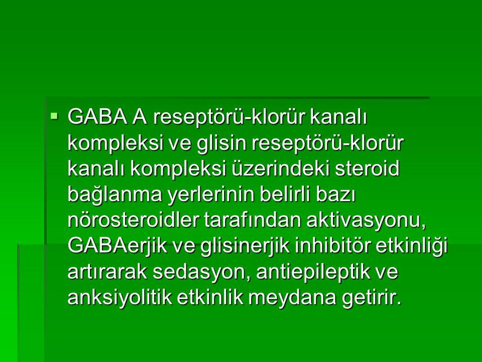  GABA A reseptörü-klorür kanalı kompleksi ve glisin reseptörü-klorür kanalı kompleksi üzerindeki steroid bağlanma yerlerinin belirli bazı nörosteroidler tarafından aktivasyonu, GABAerjik ve glisinerjik inhibitör etkinliği artırarak sedasyon, antiepileptik ve anksiyolitik etkinlik meydana getirir.