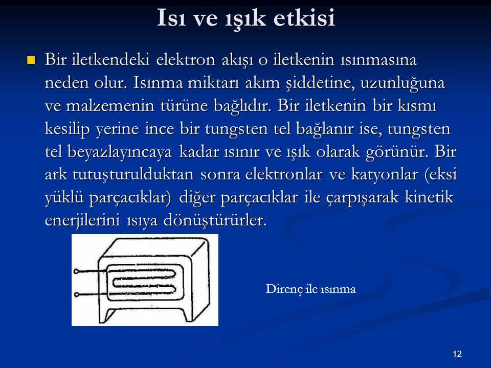 12 Isı ve ışık etkisi Bir iletkendeki elektron akışı o iletkenin ısınmasına neden olur.