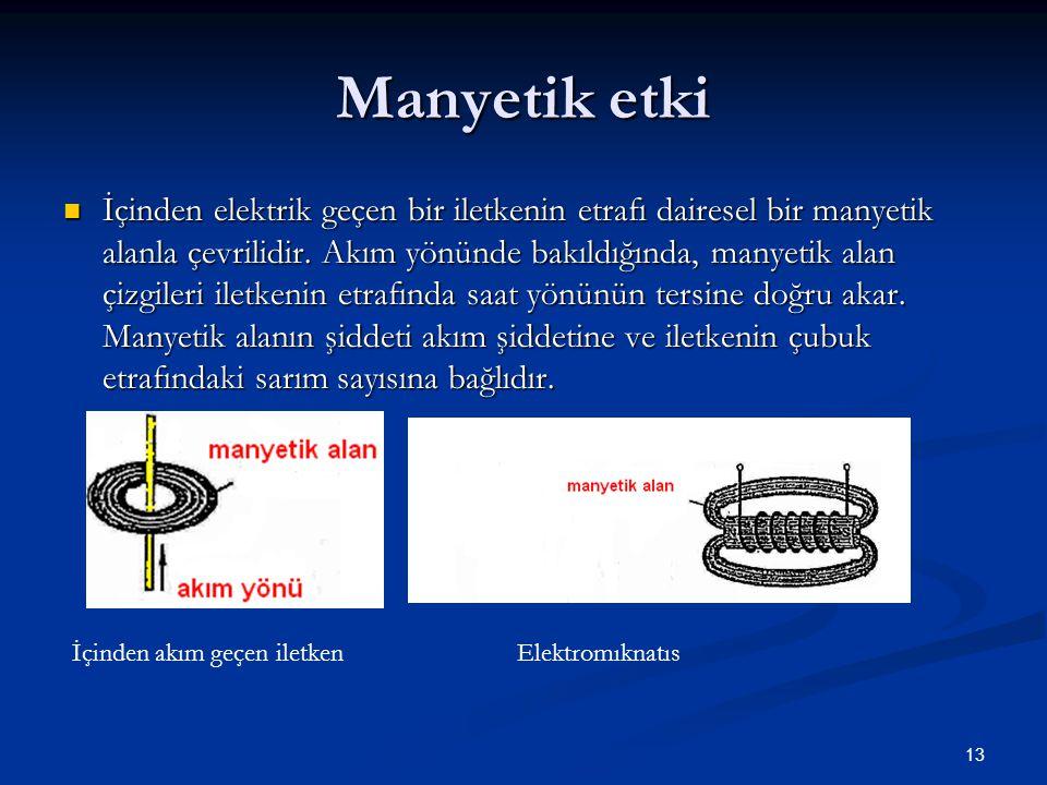 13 Manyetik etki İçinden elektrik geçen bir iletkenin etrafı dairesel bir manyetik alanla çevrilidir. Akım yönünde bakıldığında, manyetik alan çizgile