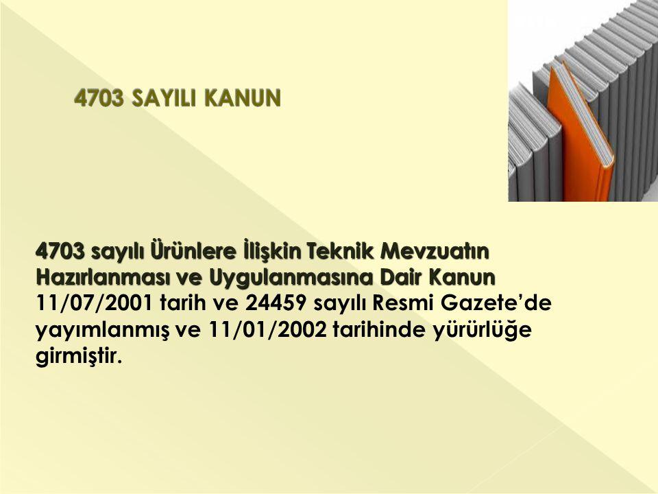 4703 sayılı Ürünlere İlişkin Teknik Mevzuatın Hazırlanması ve Uygulanmasına Dair Kanun 4703 sayılı Ürünlere İlişkin Teknik Mevzuatın Hazırlanması ve Uygulanmasına Dair Kanun 11/07/2001 tarih ve 24459 sayılı Resmi Gazete'de yayımlanmış ve 11/01/2002 tarihinde yürürlüğe girmiştir.