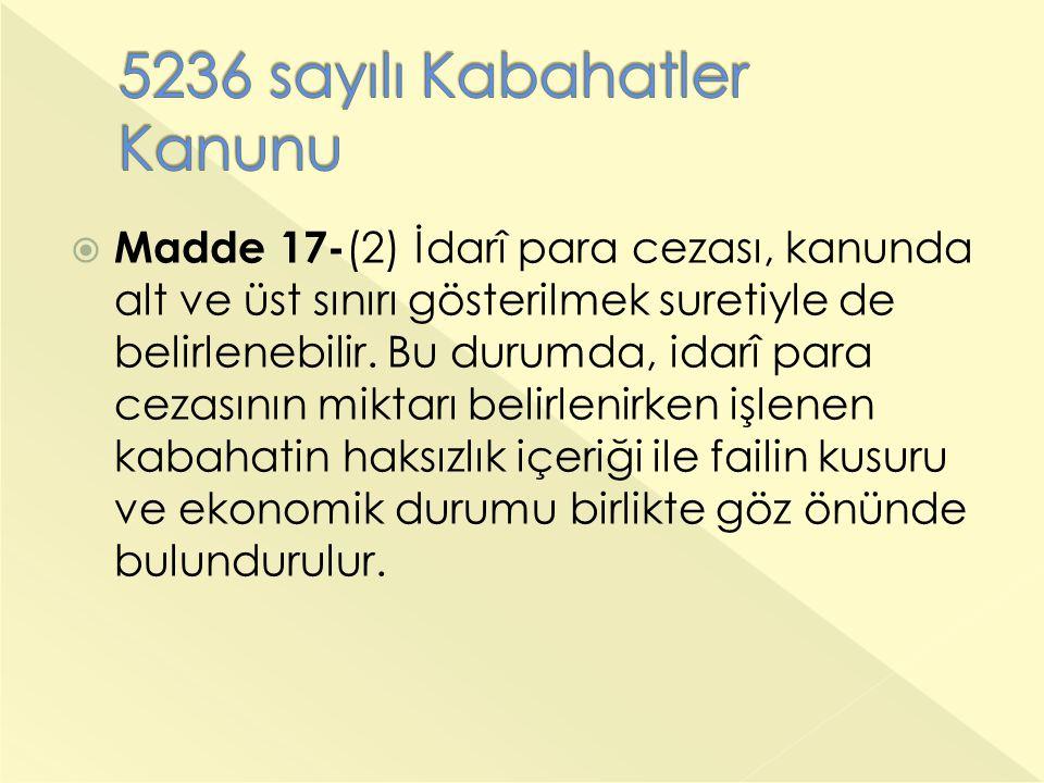  Madde 17- (2) İdarî para cezası, kanunda alt ve üst sınırı gösterilmek suretiyle de belirlenebilir. Bu durumda, idarî para cezasının miktarı belirle