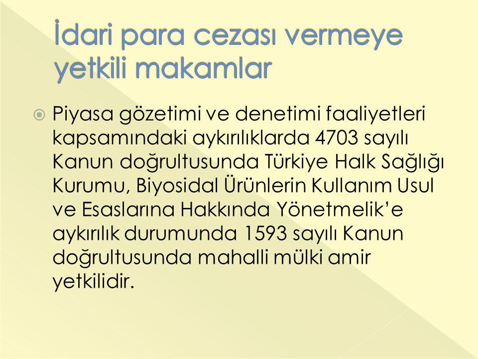  Piyasa gözetimi ve denetimi faaliyetleri kapsamındaki aykırılıklarda 4703 sayılı Kanun doğrultusunda Türkiye Halk Sağlığı Kurumu, Biyosidal Ürünlerin Kullanım Usul ve Esaslarına Hakkında Yönetmelik'e aykırılık durumunda 1593 sayılı Kanun doğrultusunda mahalli mülki amir yetkilidir.