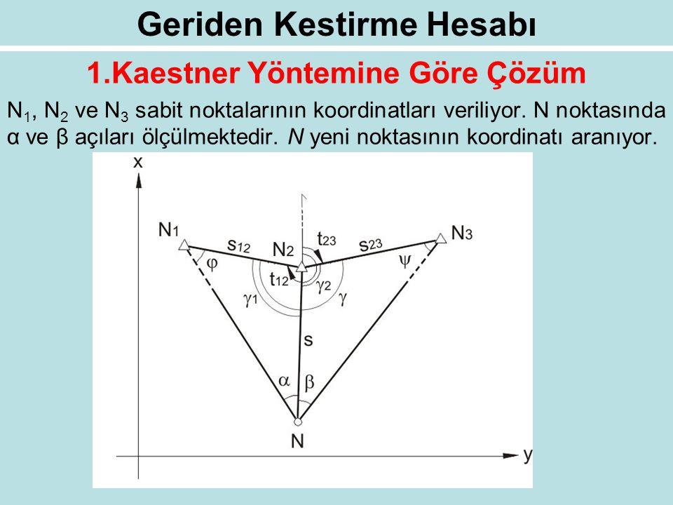 Geriden Kestirme Hesabı 1.Kaestner Yöntemine Göre Çözüm N 1, N 2 ve N 3 sabit noktalarının koordinatları veriliyor. N noktasında α ve β açıları ölçülm