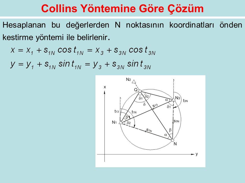 Hesaplanan bu değerlerden N noktasının koordinatları önden kestirme yöntemi ile belirlenir.
