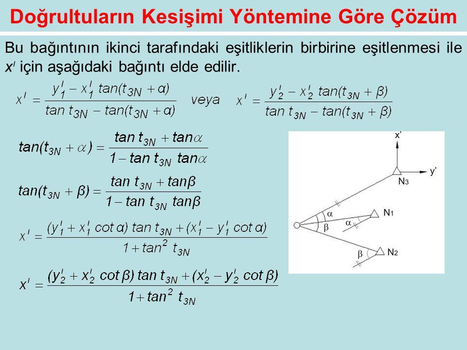 Doğrultuların Kesişimi Yöntemine Göre Çözüm Bu bağıntının ikinci tarafındaki eşitliklerin birbirine eşitlenmesi ile x ı için aşağıdaki bağıntı elde ed
