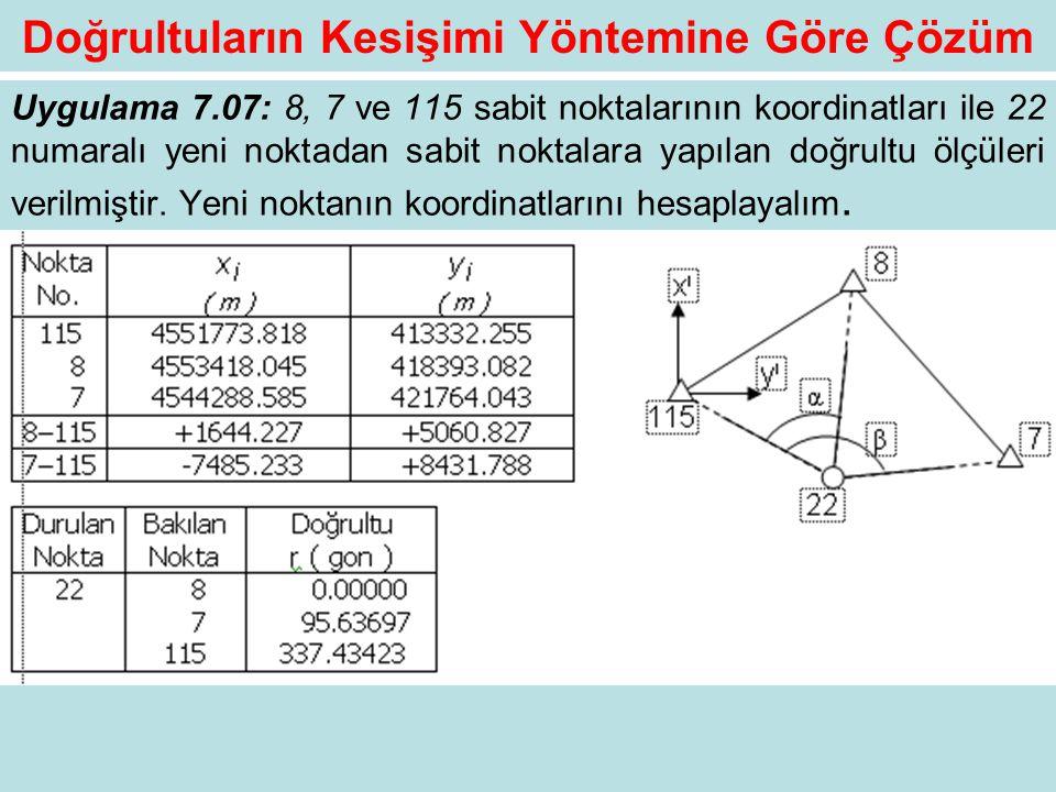 Doğrultuların Kesişimi Yöntemine Göre Çözüm Uygulama 7.07: 8, 7 ve 115 sabit noktalarının koordinatları ile 22 numaralı yeni noktadan sabit noktalara