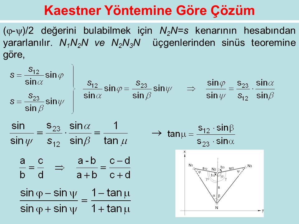 Kaestner Yöntemine Göre Çözüm (  -  )/2 değerini bulabilmek için N 2 N=s kenarının hesabından yararlanılır. N 1 N 2 N ve N 2 N 3 N üçgenlerinden sin