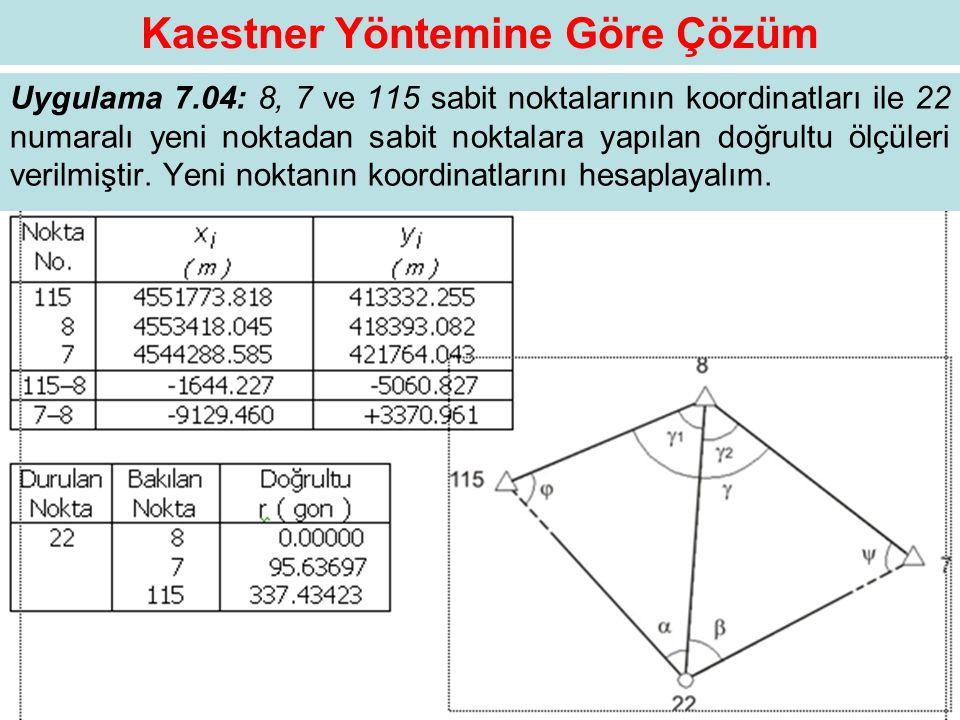 Kaestner Yöntemine Göre Çözüm Uygulama 7.04: 8, 7 ve 115 sabit noktalarının koordinatları ile 22 numaralı yeni noktadan sabit noktalara yapılan doğrul