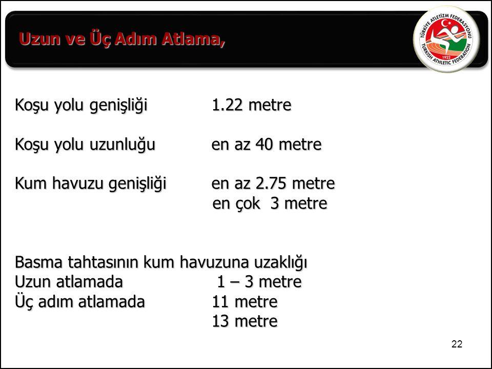 22 Koşu yolu genişliği 1.22 metre Koşu yolu uzunluğu en az 40 metre Kum havuzu genişliğien az 2.75 metre en çok 3 metre Basma tahtasının kum havuzuna