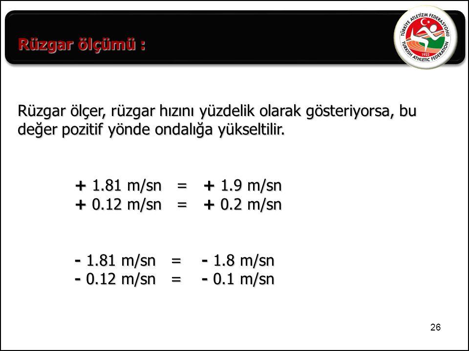 26 Rüzgar ölçer, rüzgar hızını yüzdelik olarak gösteriyorsa, bu değer pozitif yönde ondalığa yükseltilir. + 1.81 m/sn = + 1.9 m/sn + 1.81 m/sn = + 1.9