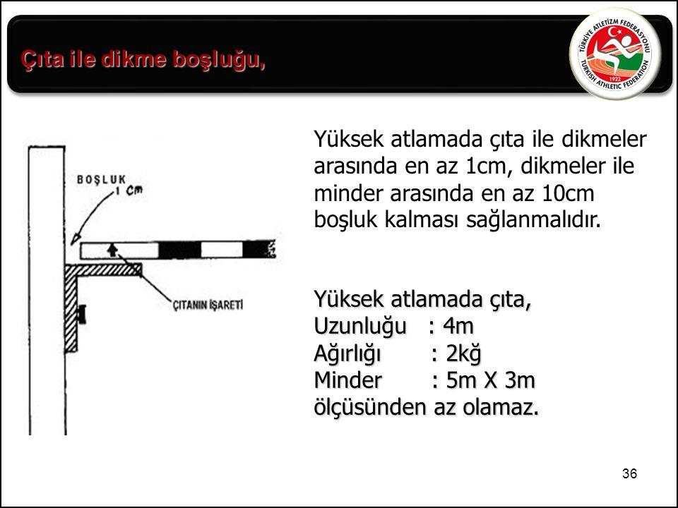 36 Yüksek atlamada çıta ile dikmeler arasında en az 1cm, dikmeler ile minder arasında en az 10cm boşluk kalması sağlanmalıdır. Yüksek atlamada çıta, U