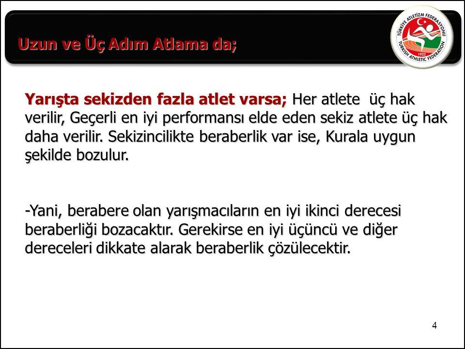 35 ATLAYIŞ SÜRELERİ : Yüksek Sırık Yüksek Sırık 3'ten fazla yarışmacı 1 dk 1 dk 2 – 3 yarışmacı 1.5 dk 2 dk 1 yarışmacı 3 dk 5 dk Birbiri ardına atlayışlar 2 dk 3 dk