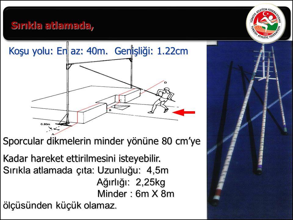 47 Sporcular dikmelerin minder yönüne 80 cm'ye Kadar hareket ettirilmesini isteyebilir. Sırıkla atlamada çıta: Uzunluğu: 4,5m Ağırlığı: 2,25kg Ağırlığ