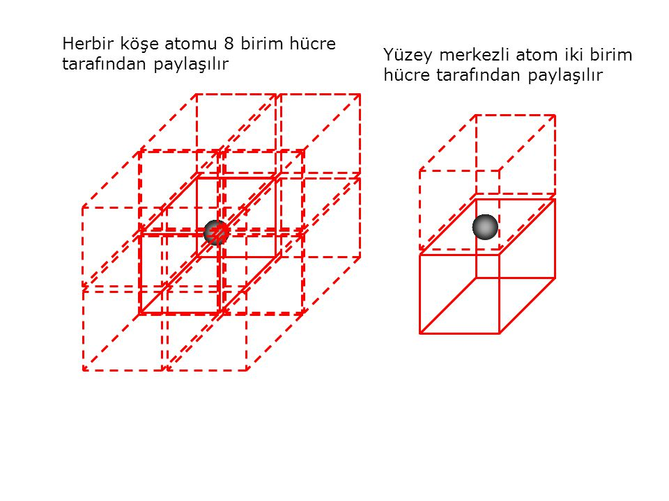 Herbir köşe atomu 8 birim hücre tarafından paylaşılır Yüzey merkezli atom iki birim hücre tarafından paylaşılır