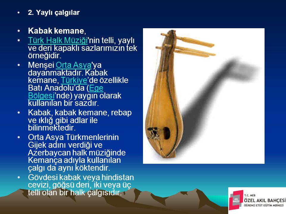 2. Yaylı çalgılar Kabak kemane, Türk Halk Müziği'nin telli, yaylı ve deri kapaklı sazlarımızın tek örneğidir.Türk Halk Müziği Menşei Orta Asya'ya daya