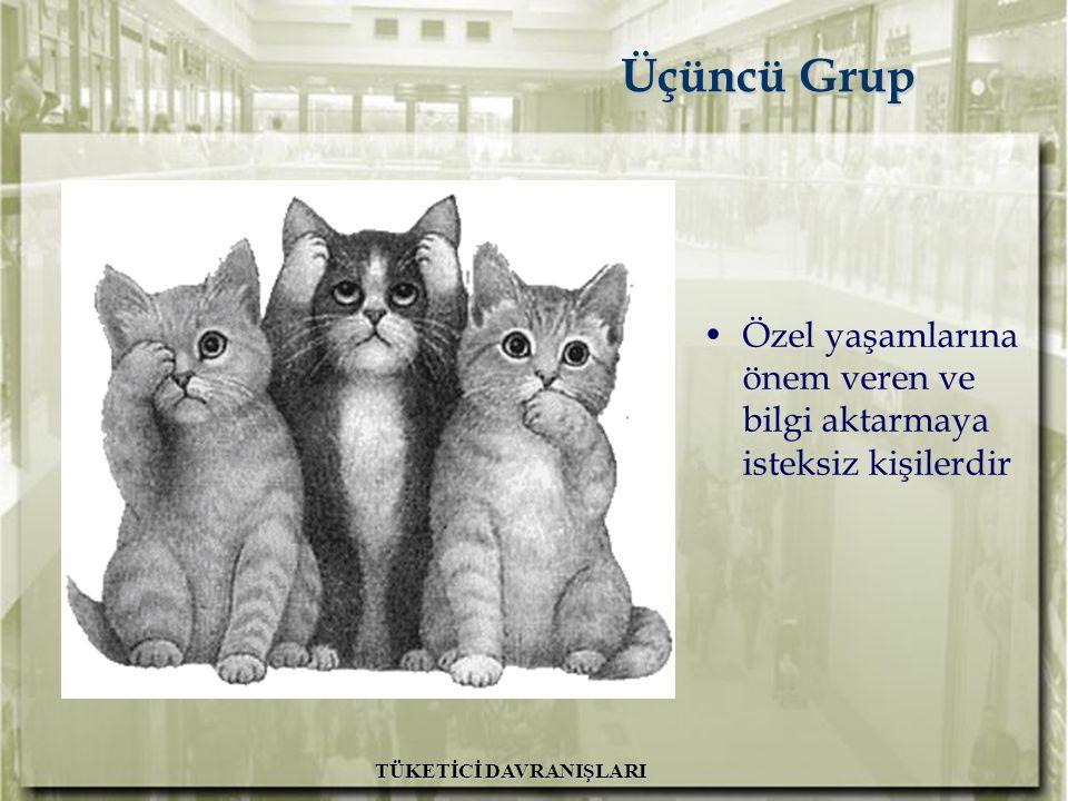 A.H. İslamoğlu R. Altunışık TÜKETİCİ DAVRANIŞLARI Üçüncü Grup Üçüncü Grup Özel yaşamlarına önem veren ve bilgi aktarmaya isteksiz kişilerdir