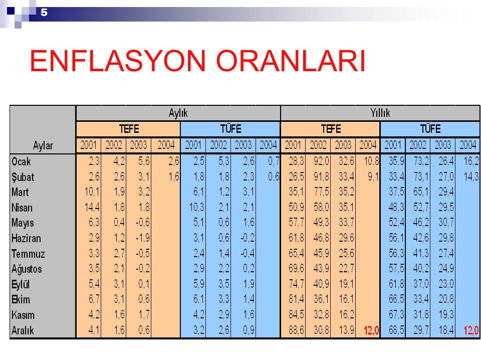 5 ENFLASYON ORANLARI
