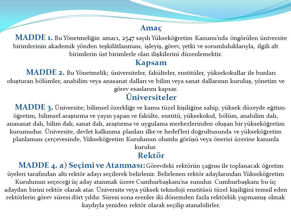 Anabilim veya Anasanat Dalı MADDE 16.