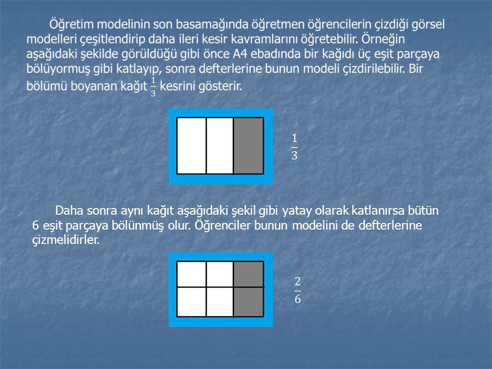 Daha sonra aynı kağıt aşağıdaki şekil gibi yatay olarak katlanırsa bütün 6 eşit parçaya bölünmüş olur. Öğrenciler bunun modelini de defterlerine çizme