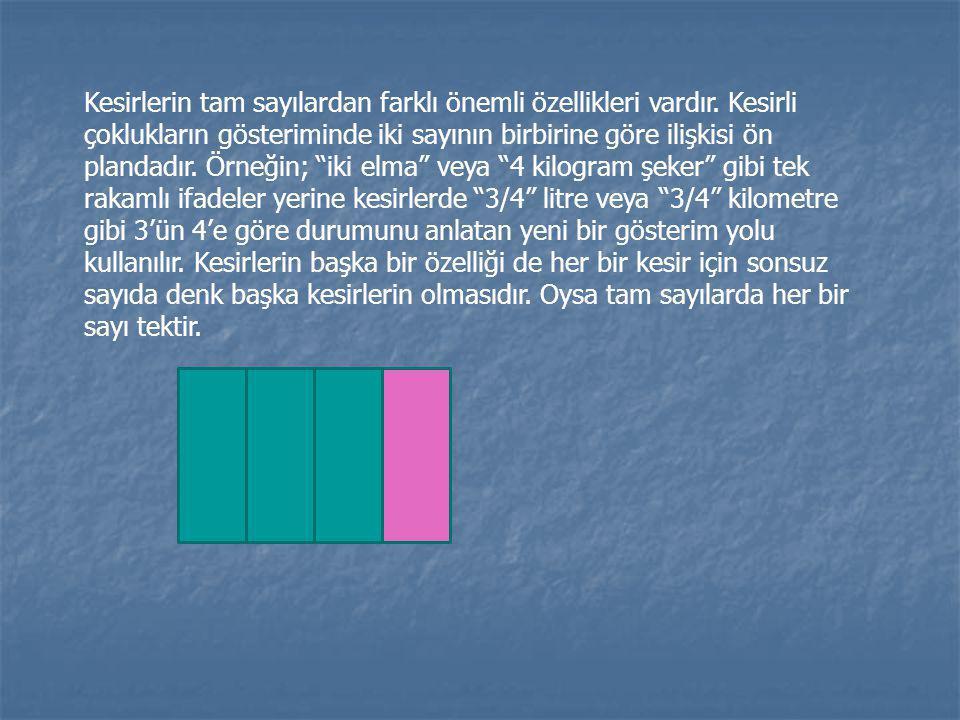 Kesirlerin tam sayılardan farklı önemli özellikleri vardır. Kesirli çoklukların gösteriminde iki sayının birbirine göre ilişkisi ön plandadır. Örneğin