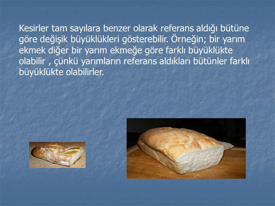 Kesirler tam sayılara benzer olarak referans aldığı bütüne göre değişik büyüklükleri gösterebilir. Örneğin; bir yarım ekmek diğer bir yarım ekmeğe gör