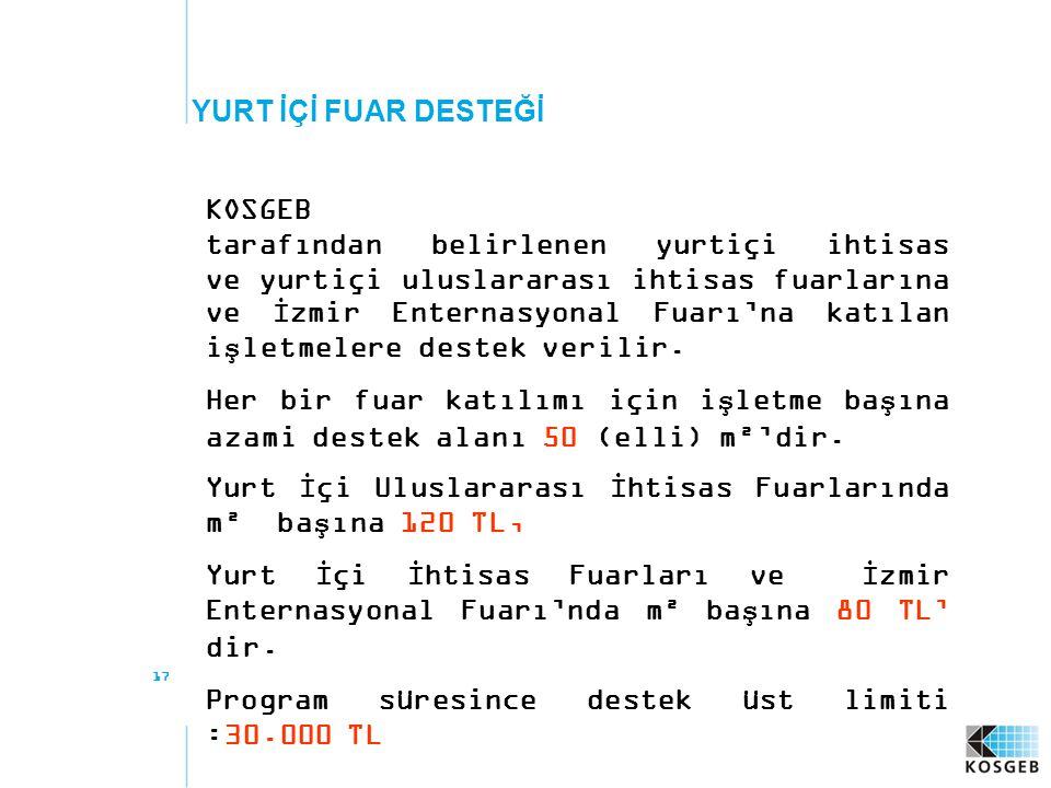17 YURT İÇİ FUAR DESTEĞİ KOSGEB tarafından belirlenen yurtiçi ihtisas ve yurtiçi uluslararası ihtisas fuarlarına ve İzmir Enternasyonal Fuarı'na katılan işletmelere destek verilir.