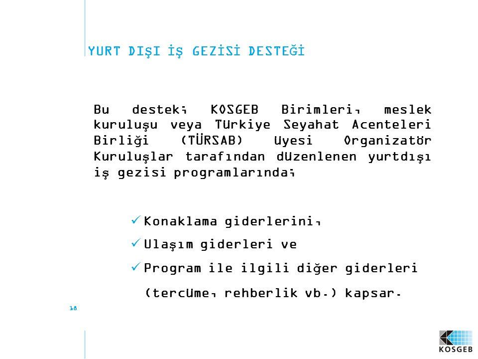 18 YURT DIŞI İŞ GEZİSİ DESTEĞİ Bu destek; KOSGEB Birimleri, meslek kuruluşu veya Türkiye Seyahat Acenteleri Birliği (TÜRSAB) üyesi Organizatör Kuruluş